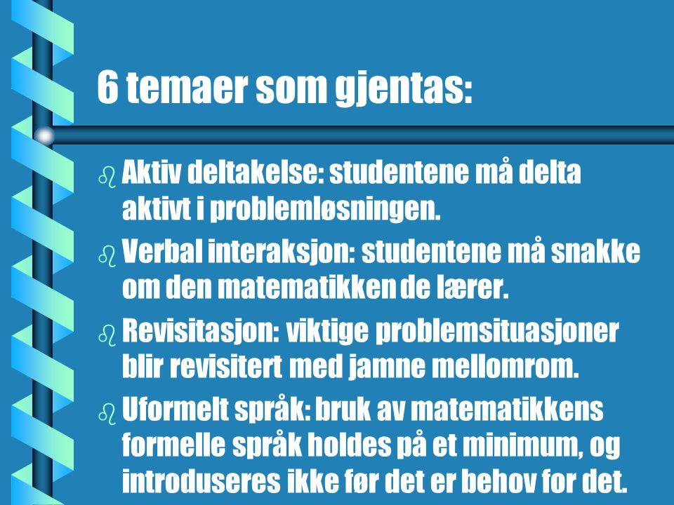 6 temaer som gjentas: b b Aktiv deltakelse: studentene må delta aktivt i problemløsningen. b b Verbal interaksjon: studentene må snakke om den matemat