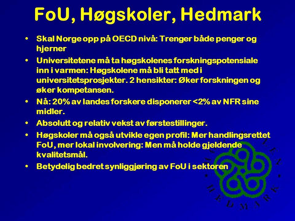 1997 Forskning i Norge, Europa, USA Norge 17kr/1000krBNP. OECD kr: 23, USA 26. Sverige 37