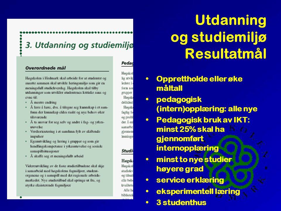 Utdanning og studiemiljø Planforutsetninger Pedagogiske prinsipper Infrastruktur Studentvelferd