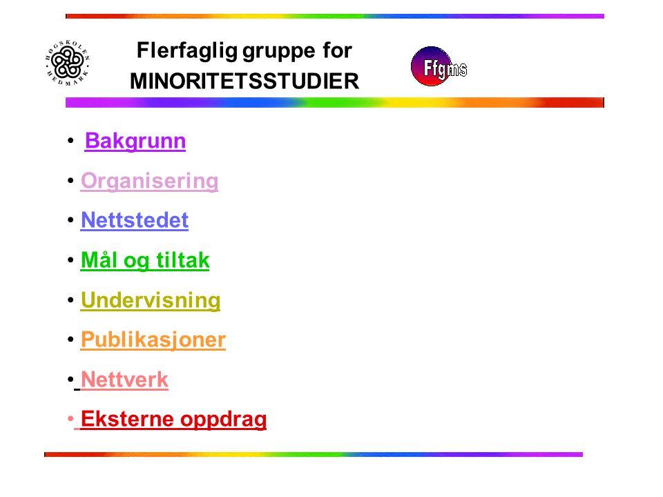 Flerfaglig gruppe for MINORITETSSTUDIER Bakgrunn Organisering Nettstedet Mål og tiltak Undervisning Publikasjoner Nettverk Eksterne oppdrag