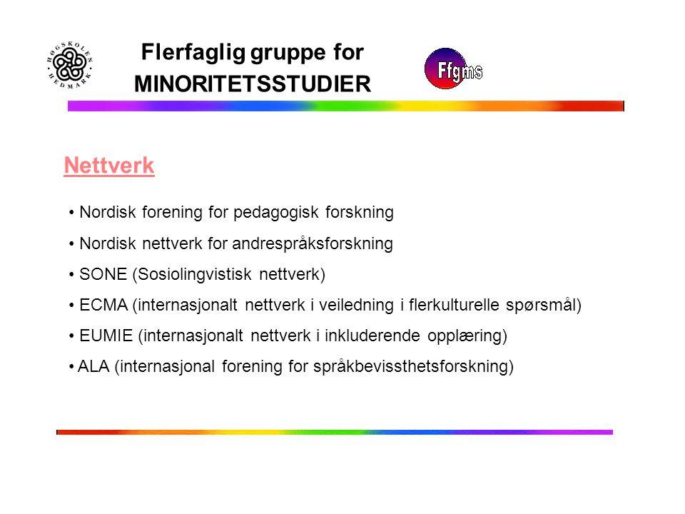Flerfaglig gruppe for MINORITETSSTUDIER Nettverk Nordisk forening for pedagogisk forskning Nordisk nettverk for andrespråksforskning SONE (Sosiolingvi