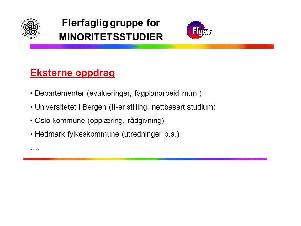 Flerfaglig gruppe for MINORITETSSTUDIER Eksterne oppdrag Departementer (evalueringer, fagplanarbeid m.m.) Universitetet i Bergen (II-er stilling, nett