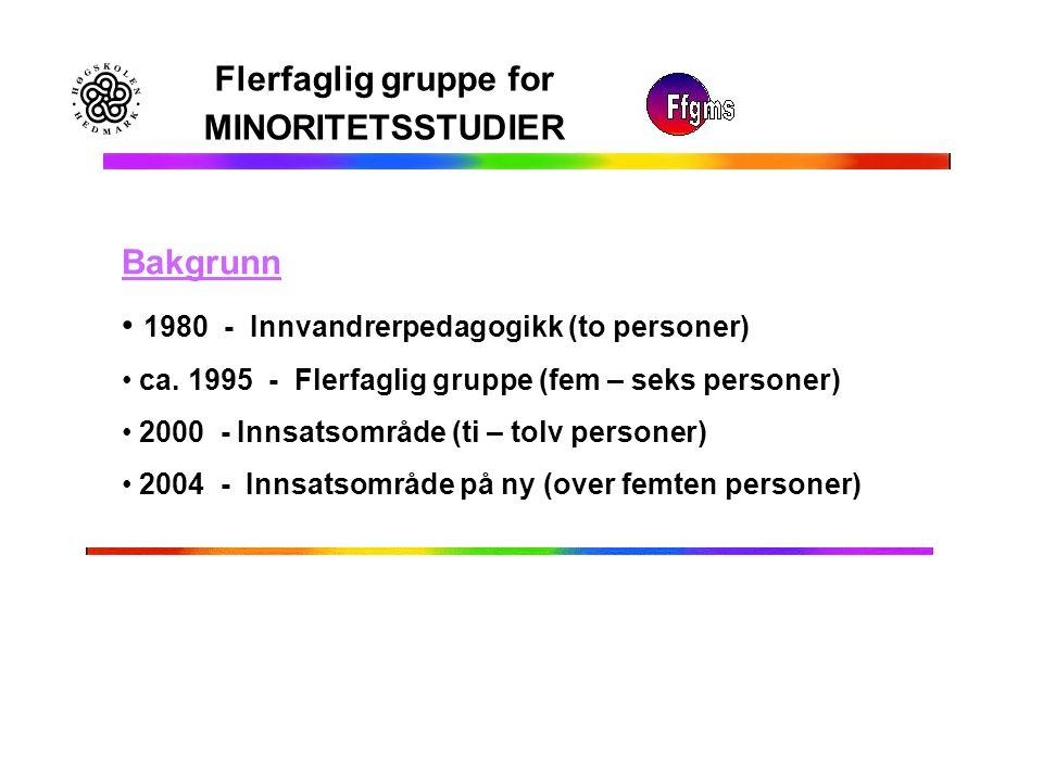 Flerfaglig gruppe for MINORITETSSTUDIER Bakgrunn 1980 - Innvandrerpedagogikk (to personer) ca. 1995 - Flerfaglig gruppe (fem – seks personer) 2000 - I