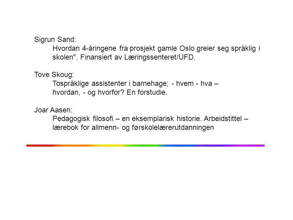 Sigrun Sand: Hvordan 4-åringene fra prosjekt gamle Oslo greier seg språklig i skolen
