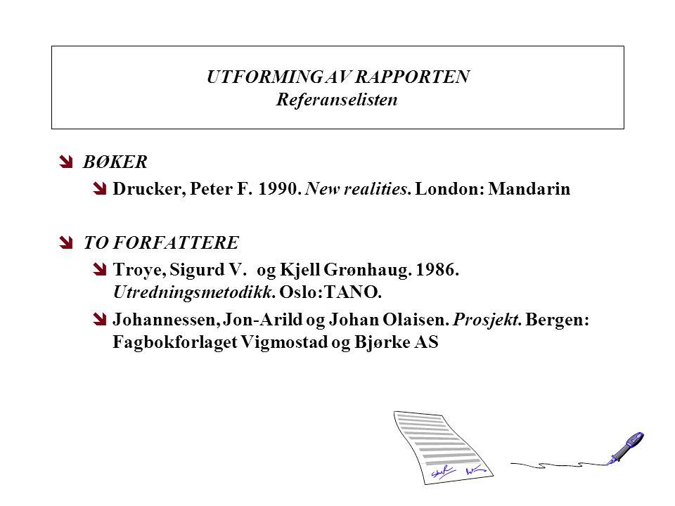 UTFORMING AV RAPPORTEN Referanselisten îBØKER îDrucker, Peter F. 1990. New realities. London: Mandarin îTO FORFATTERE îTroye, Sigurd V. og Kjell Grønh