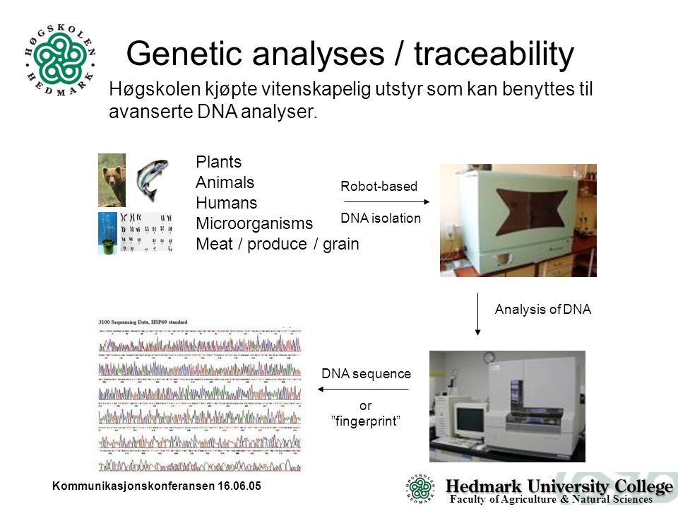 Kommunikasjonskonferansen 16.06.05 Genetic analyses / traceability Plants Animals Humans Microorganisms Meat / produce / grain Robot-based DNA isolation Analysis of DNA DNA sequence or fingerprint Faculty of Agriculture & Natural Sciences Høgskolen kjøpte vitenskapelig utstyr som kan benyttes til avanserte DNA analyser.