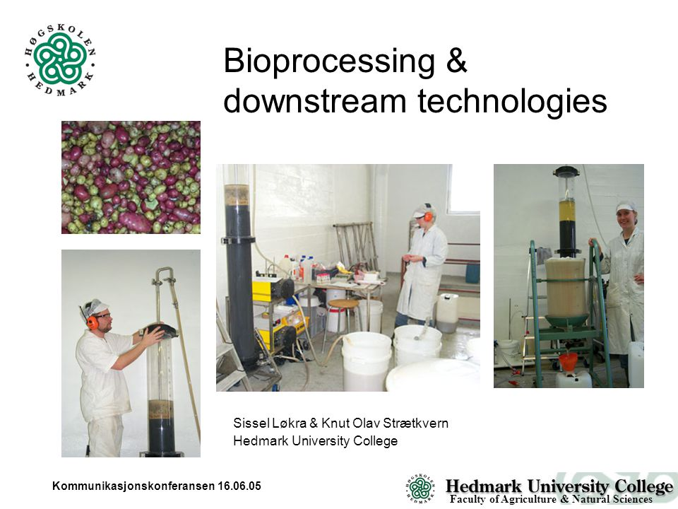 Kommunikasjonskonferansen 16.06.05 Bioprocessing & downstream technologies Faculty of Agriculture & Natural Sciences Sissel Løkra & Knut Olav Strætkvern Hedmark University College