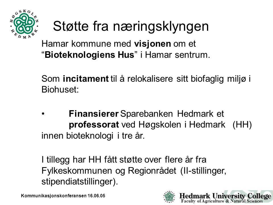 Kommunikasjonskonferansen 16.06.05 Biotechnology ( BioHus ) Building Hamar Campus Fall Semester 2005 Faculty of Agriculture & Natural Sciences