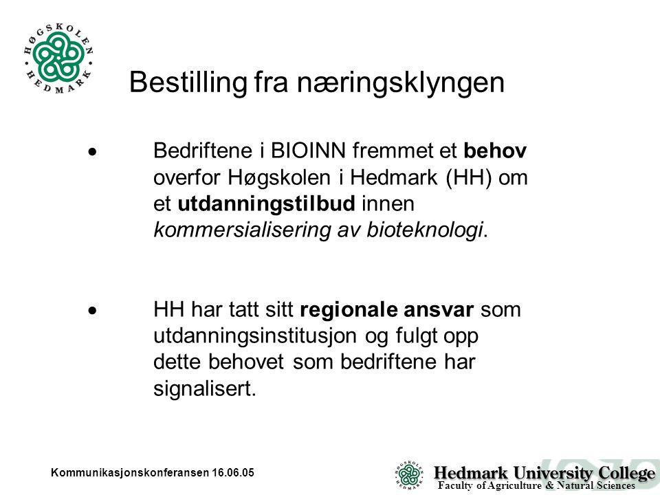 Kommunikasjonskonferansen 16.06.05 Bestilling fra næringsklyngen  Bedriftene i BIOINN fremmet et behov overfor Høgskolen i Hedmark (HH) om et utdanningstilbud innen kommersialisering av bioteknologi.