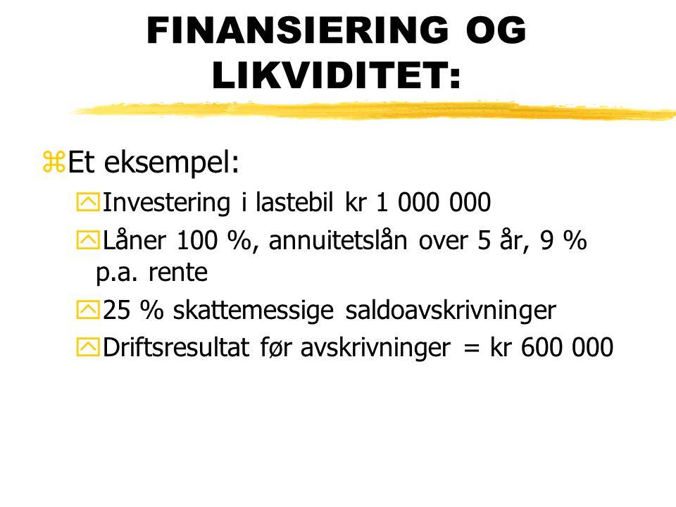 FINANSIERING OG LIKVIDITET: zEt eksempel: yInvestering i lastebil kr 1 000 000 yLåner 100 %, annuitetslån over 5 år, 9 % p.a. rente y25 % skattemessig