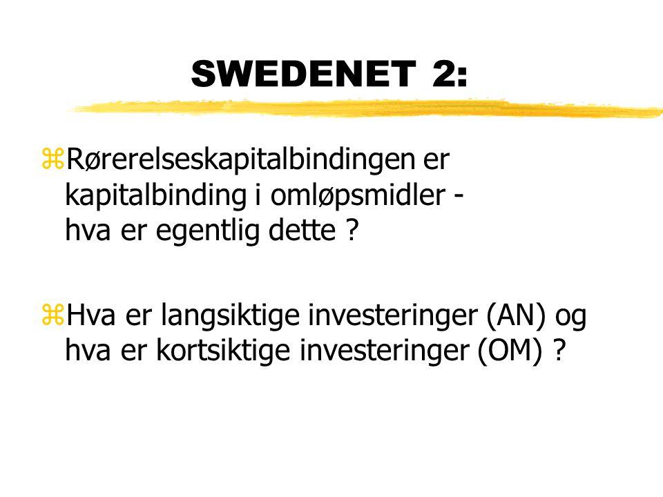 SWEDENET 2: zRørerelseskapitalbindingen er kapitalbinding i omløpsmidler - hva er egentlig dette ? zHva er langsiktige investeringer (AN) og hva er ko