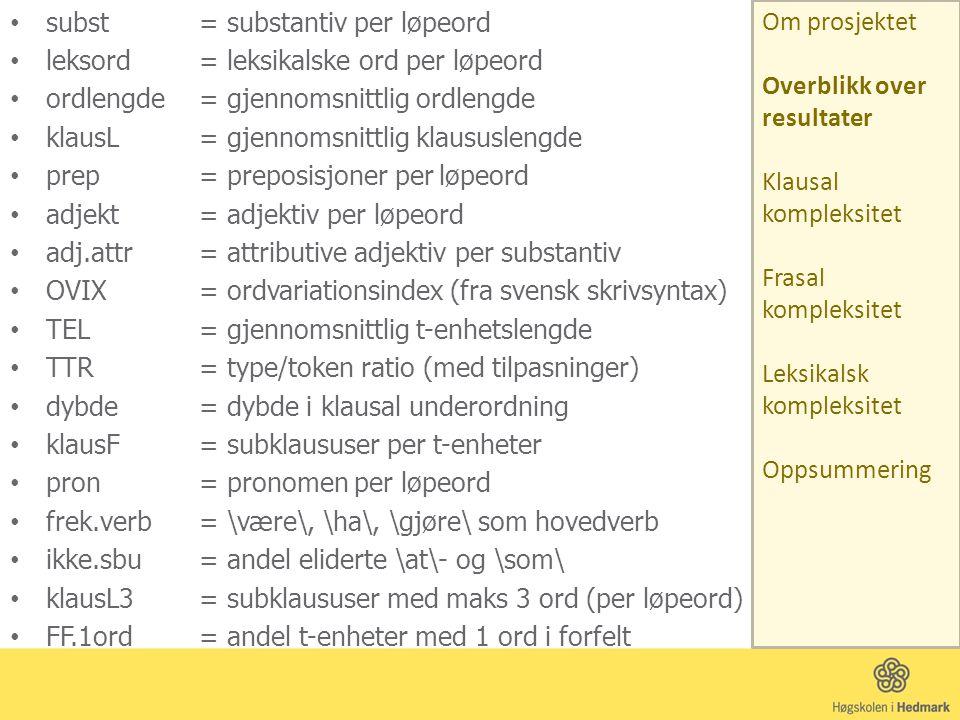 Andel t-enheter med ett ord i forfeltet