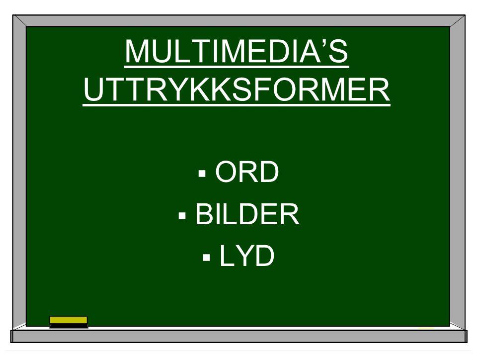MULTIMEDIA'S UTTRYKKSFORMER  ORD  BILDER  LYD
