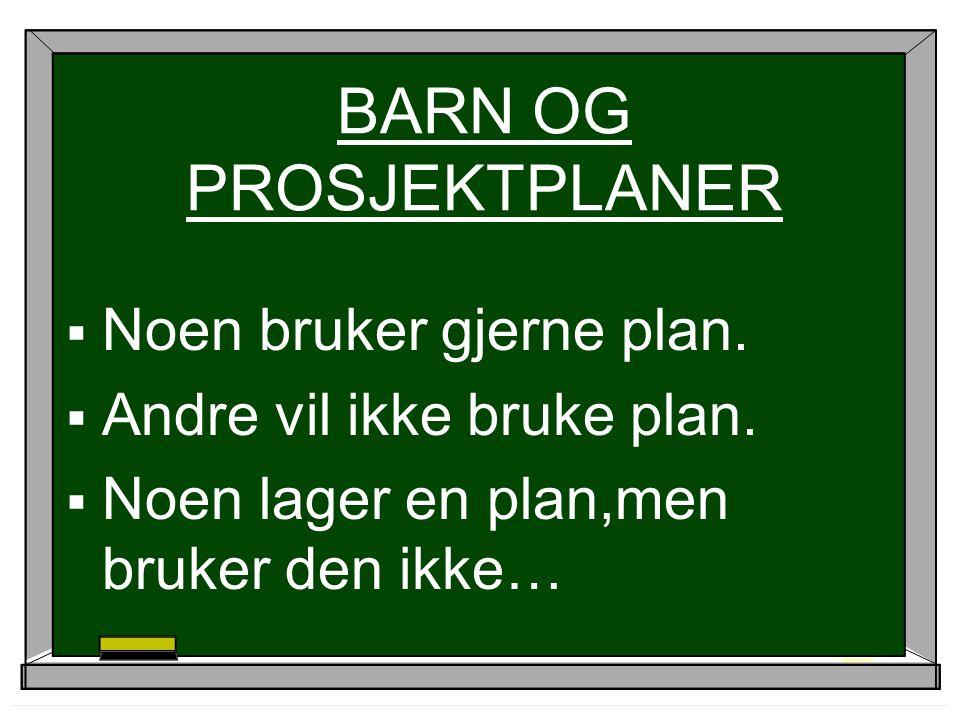 BARN OG PROSJEKTPLANER  Noen bruker gjerne plan. Andre vil ikke bruke plan.