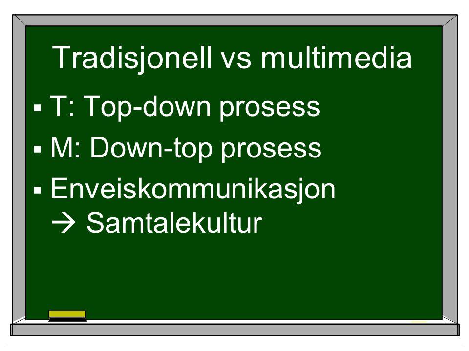 Tradisjonell vs multimedia  T: Top-down prosess  M: Down-top prosess  Enveiskommunikasjon  Samtalekultur