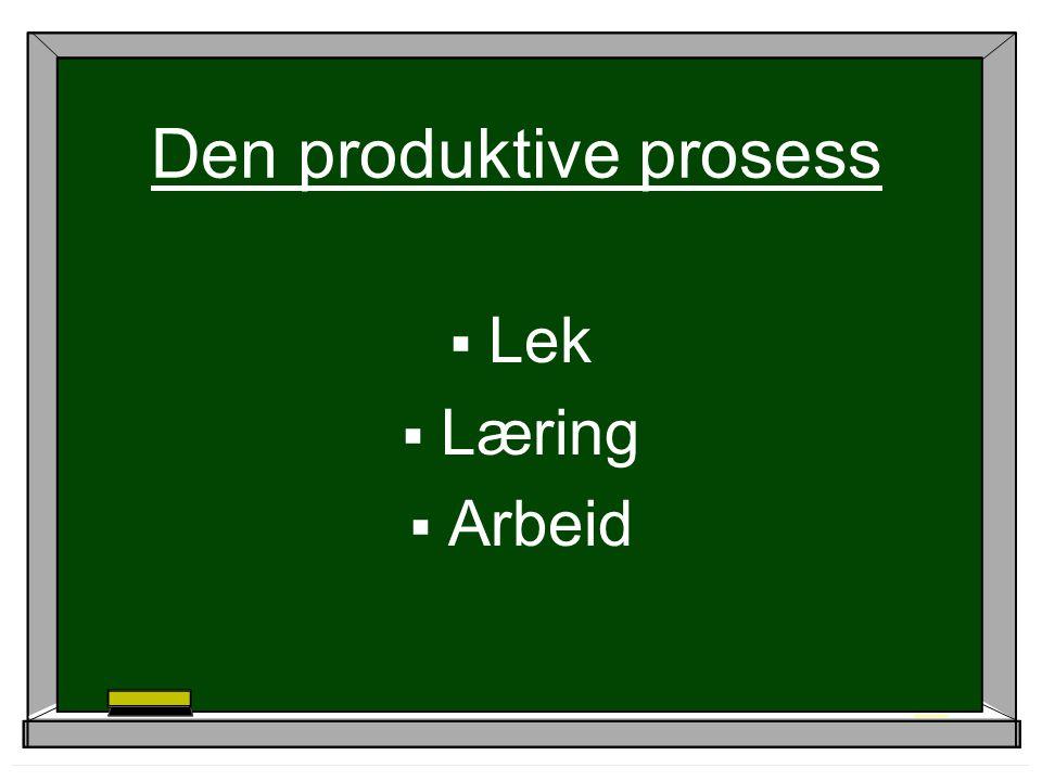 Den produktive prosess  Lek  Læring  Arbeid