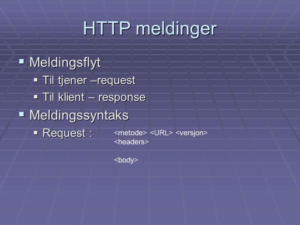 HTTP meldinger  Meldingsflyt  Til tjener –request  Til klient – response  Meldingssyntaks  Request :
