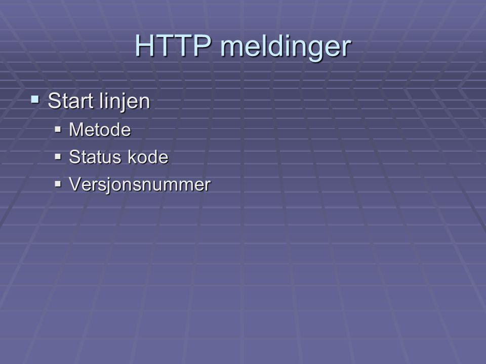 HTTP meldinger  Start linjen  Metode  Status kode  Versjonsnummer