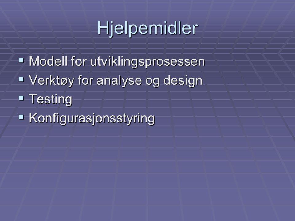 Hjelpemidler  Modell for utviklingsprosessen  Verktøy for analyse og design  Testing  Konfigurasjonsstyring