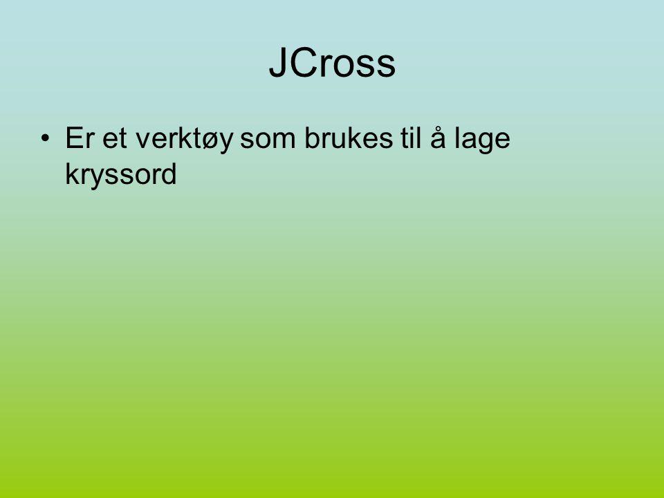 JCross Er et verktøy som brukes til å lage kryssord