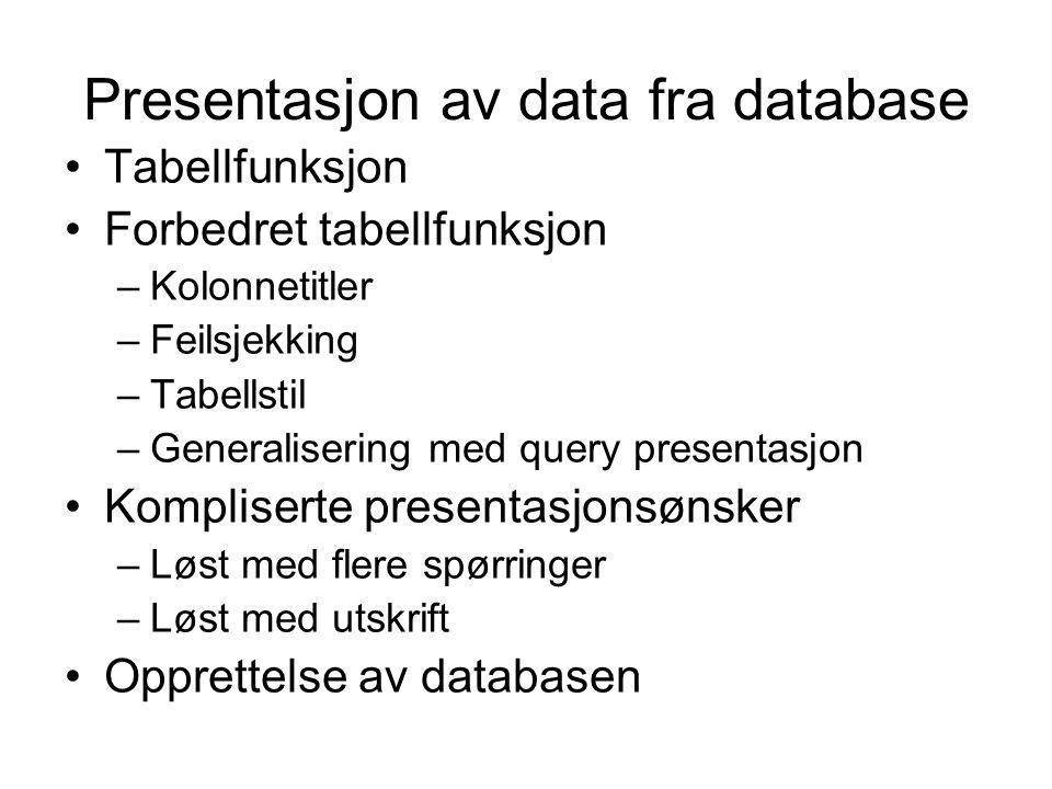 Presentasjon av data fra database Tabellfunksjon Forbedret tabellfunksjon –Kolonnetitler –Feilsjekking –Tabellstil –Generalisering med query presentas
