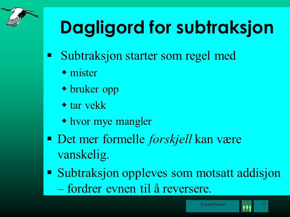 Ronald Bradal20 Dagligord for subtraksjon  Subtraksjon starter som regel med  mister  bruker opp  tar vekk  hvor mye mangler  Det mer formelle f