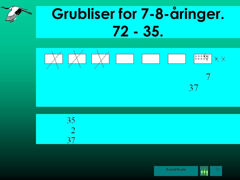 Ronald Bradal22 Grubliser for 7-8-åringer. 72 - 35.