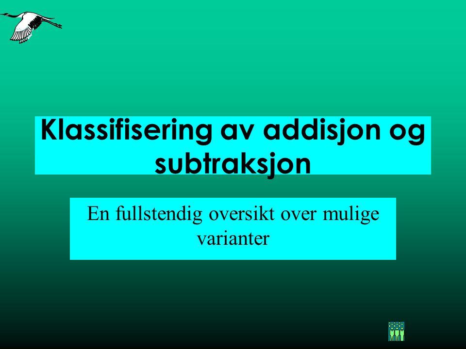 Klassifisering av addisjon og subtraksjon En fullstendig oversikt over mulige varianter