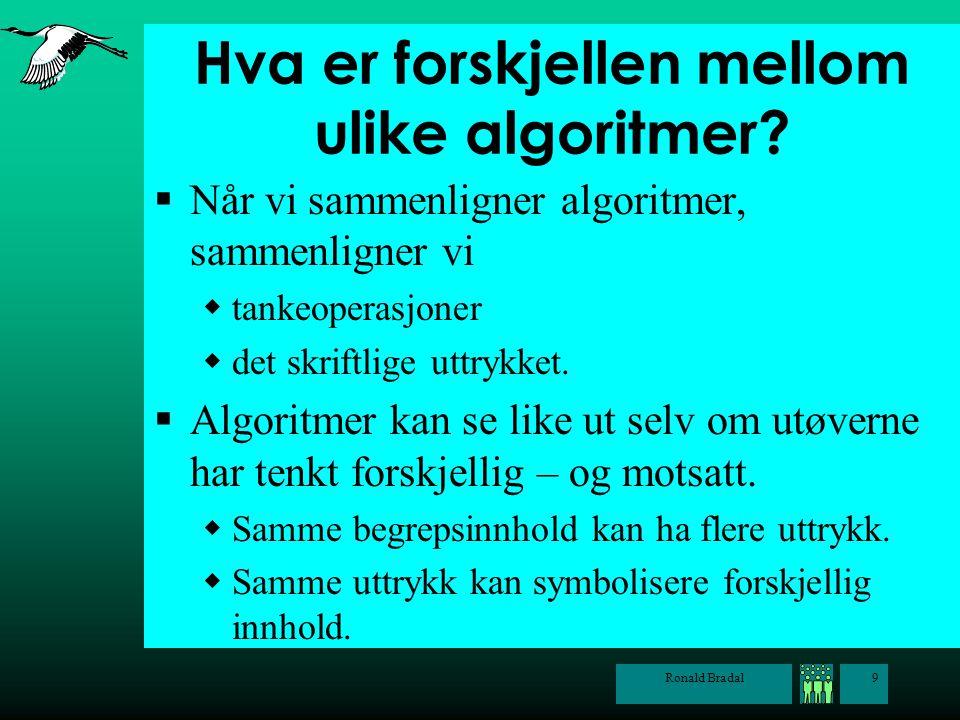 Ronald Bradal9 Hva er forskjellen mellom ulike algoritmer?  Når vi sammenligner algoritmer, sammenligner vi  tankeoperasjoner  det skriftlige uttry