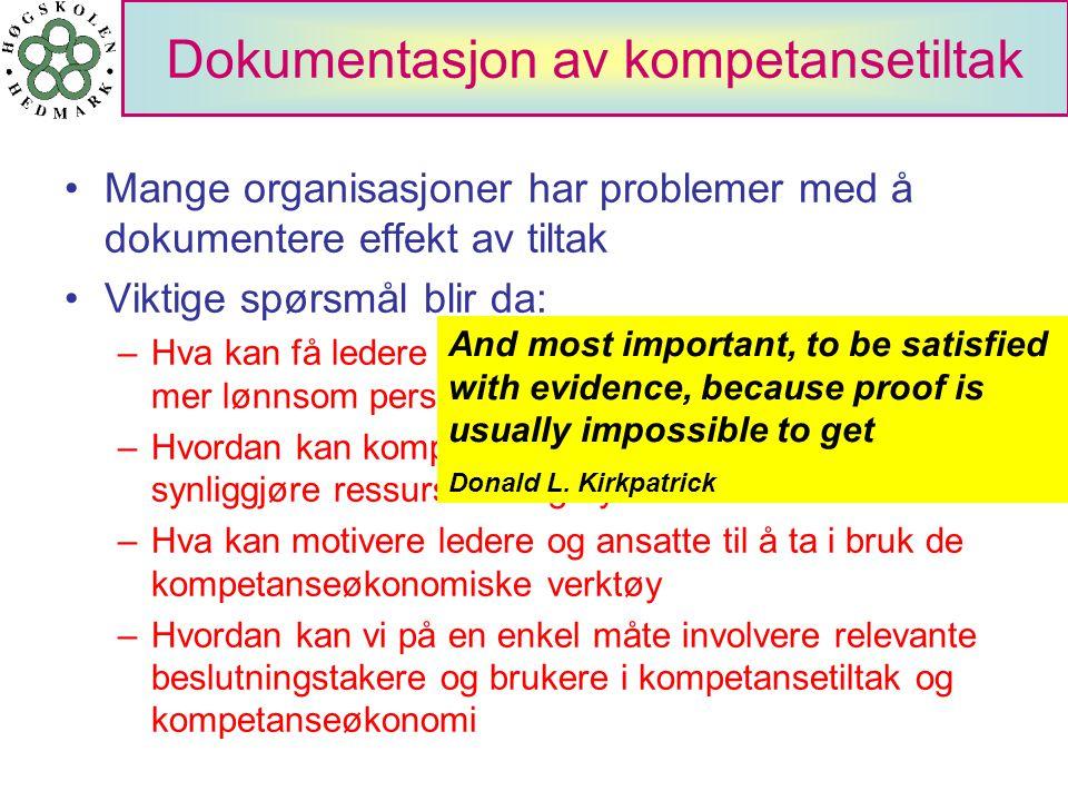 Dokumentasjon av kompetansetiltak Mange organisasjoner har problemer med å dokumentere effekt av tiltak Viktige spørsmål blir da: –Hva kan få ledere o