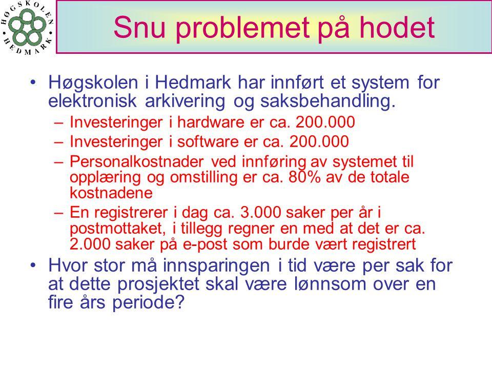 Snu problemet på hodet Høgskolen i Hedmark har innført et system for elektronisk arkivering og saksbehandling. –Investeringer i hardware er ca. 200.00