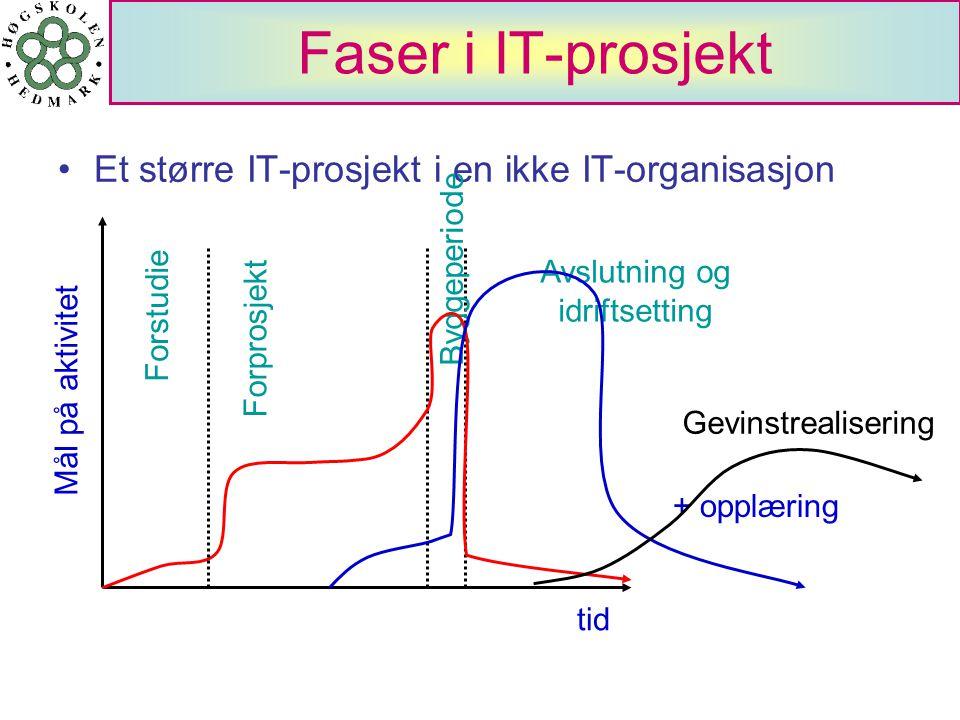 Faser i IT-prosjekt Et større IT-prosjekt i en ikke IT-organisasjon tid Mål på aktivitet Forstudie Byggeperiode Avslutning og idriftsetting Forprosjek
