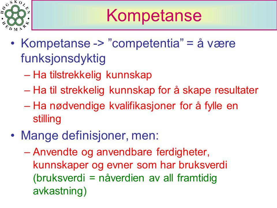 """Kompetanse Kompetanse -> """"competentia"""" = å være funksjonsdyktig –Ha tilstrekkelig kunnskap –Ha til strekkelig kunnskap for å skape resultater –Ha nødv"""
