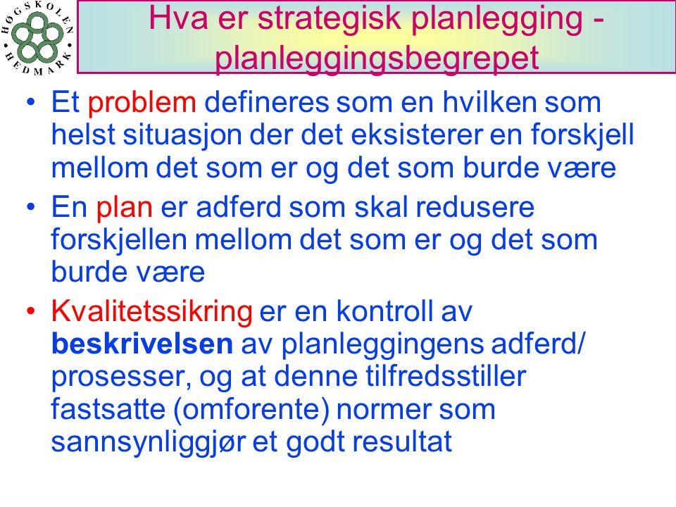 Hva er strategisk planlegging - planleggingsbegrepet Et problem defineres som en hvilken som helst situasjon der det eksisterer en forskjell mellom de