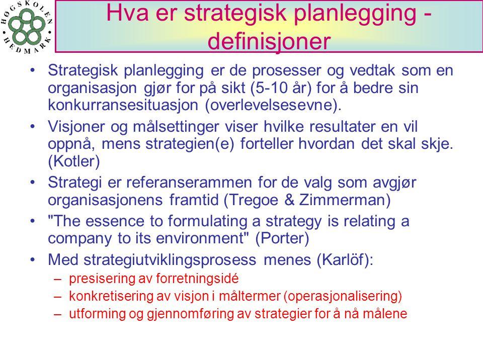 Hva er strategisk planlegging - definisjoner Strategisk planlegging er de prosesser og vedtak som en organisasjon gjør for på sikt (5-10 år) for å bed