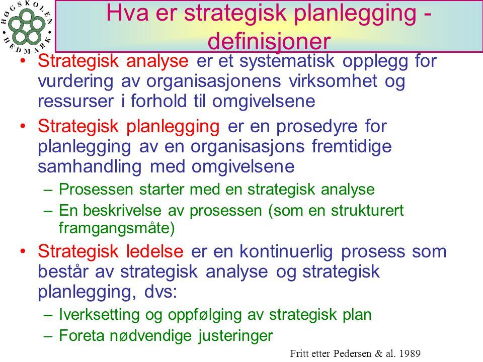 Hva er strategisk planlegging - definisjoner Strategisk analyse er et systematisk opplegg for vurdering av organisasjonens virksomhet og ressurser i f