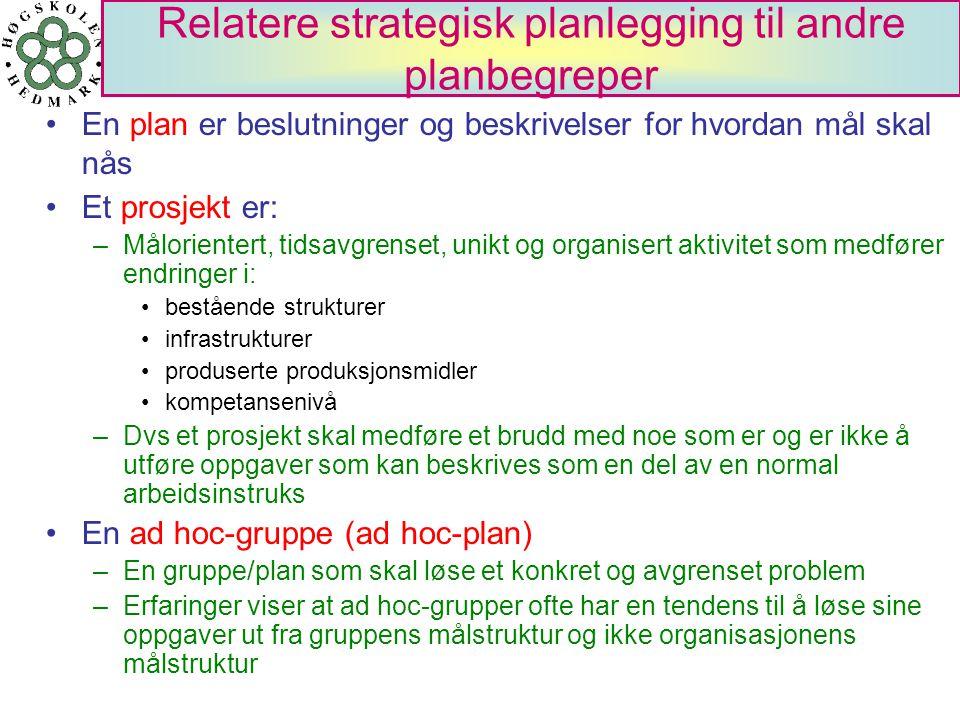 Relatere strategisk planlegging til andre planbegreper En plan er beslutninger og beskrivelser for hvordan mål skal nås Et prosjekt er: –Målorientert,