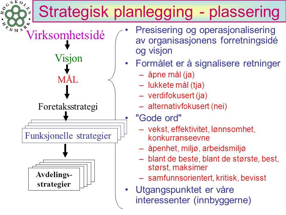 Strategisk planlegging - plassering Presisering og operasjonalisering av organisasjonens forretningsidé og visjon Formålet er å signalisere retninger