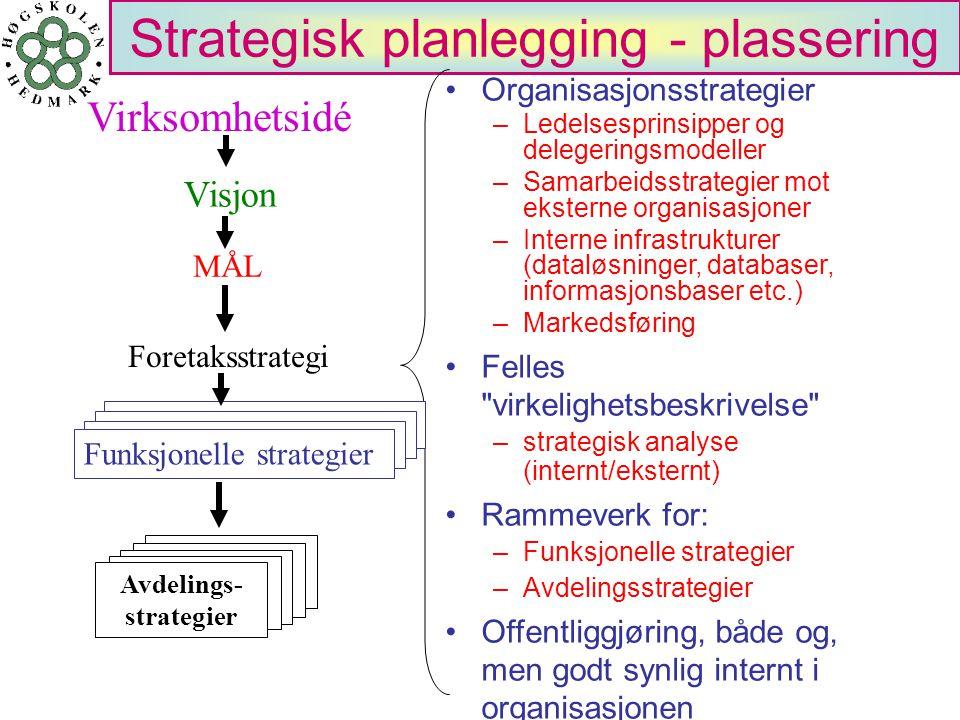 Strategisk planlegging - plassering Organisasjonsstrategier –Ledelsesprinsipper og delegeringsmodeller –Samarbeidsstrategier mot eksterne organisasjon