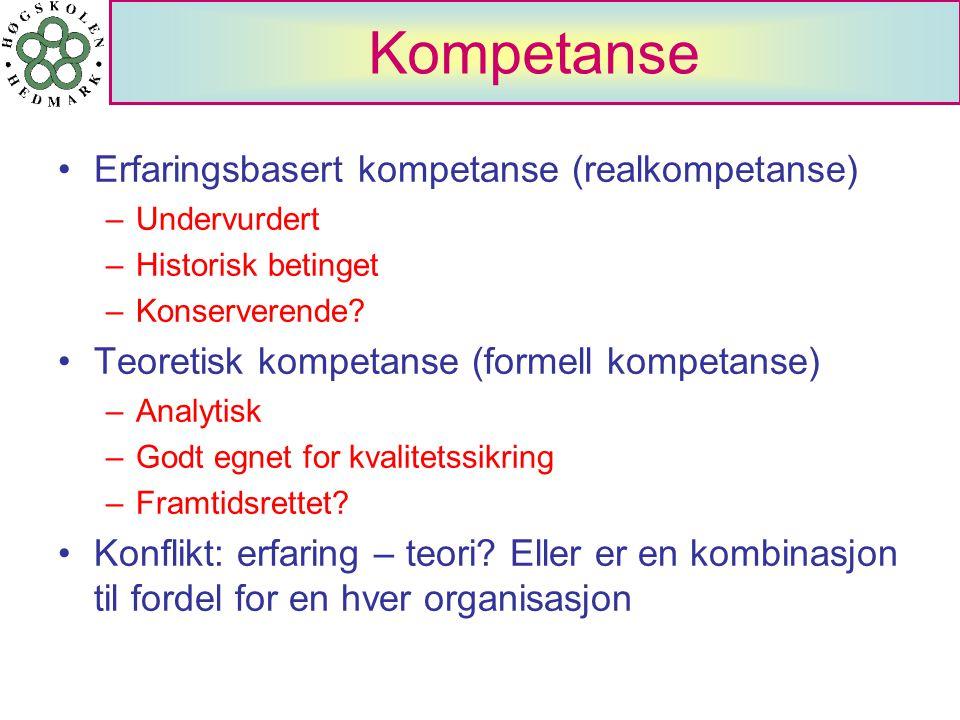 Kompetanse Erfaringsbasert kompetanse (realkompetanse) –Undervurdert –Historisk betinget –Konserverende? Teoretisk kompetanse (formell kompetanse) –An