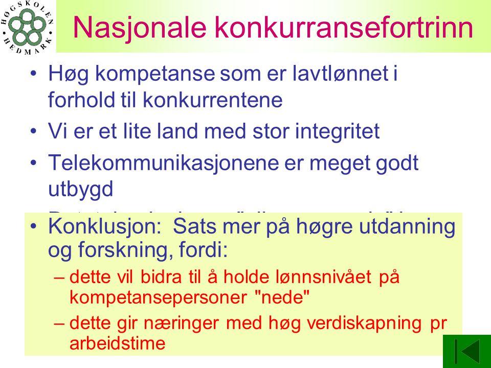 Nasjonale konkurransefortrinn Høg kompetanse som er lavtlønnet i forhold til konkurrentene Vi er et lite land med stor integritet Telekommunikasjonene