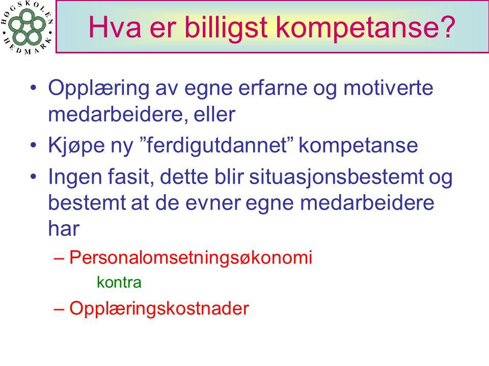 Nasjonale konkurransefortrinn Høg kompetanse som er lavtlønnet i forhold til konkurrentene Vi er et lite land med stor integritet Telekommunikasjonene er meget godt utbygd Datateknologien er alle manns eie i Norge Konklusjon: Sats mer på høgre utdanning og forskning, fordi: –dette vil bidra til å holde lønnsnivået på kompetansepersoner nede –dette gir næringer med høg verdiskapning pr arbeidstime