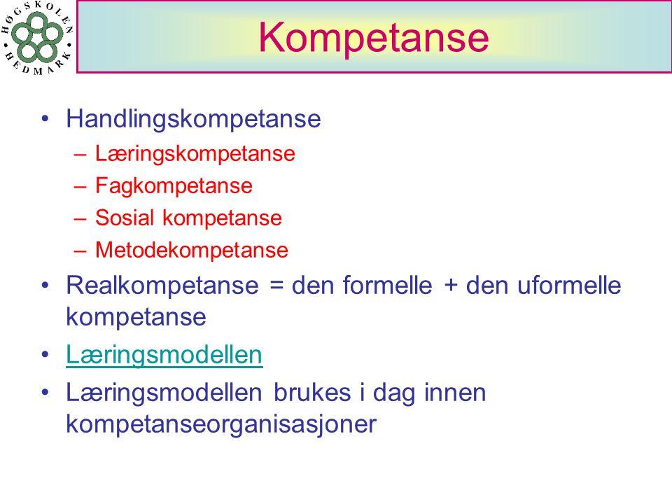 Kompetanse Handlingskompetanse –Læringskompetanse –Fagkompetanse –Sosial kompetanse –Metodekompetanse Realkompetanse = den formelle + den uformelle ko