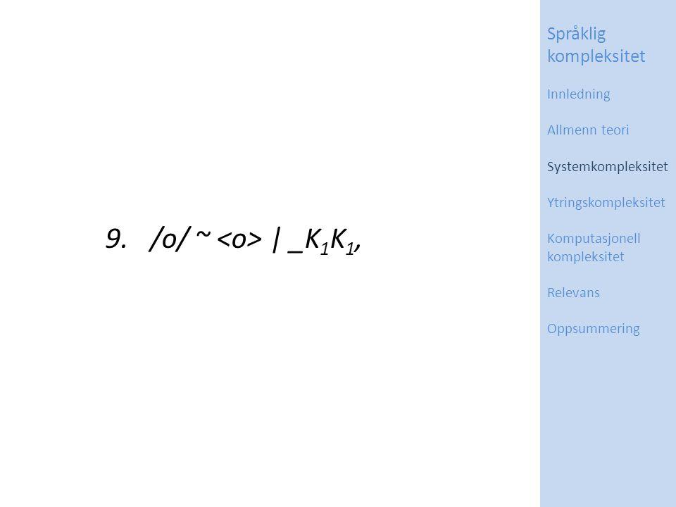 9. /o/ ~ | _K 1 K 1, Språklig kompleksitet Innledning Allmenn teori Systemkompleksitet Ytringskompleksitet Komputasjonell kompleksitet Relevans Oppsum