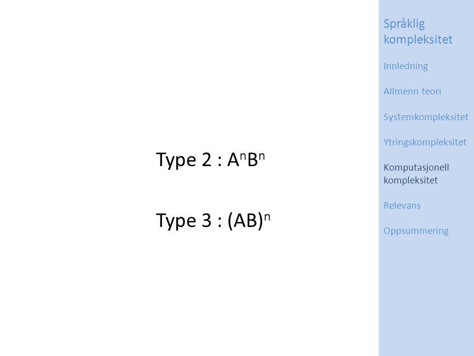 Type 2 : A n B n Type 3 : (AB) n Språklig kompleksitet Innledning Allmenn teori Systemkompleksitet Ytringskompleksitet Komputasjonell kompleksitet Relevans Oppsummering