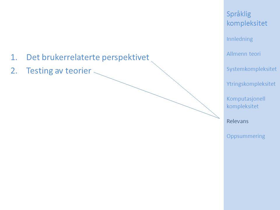 1.Det brukerrelaterte perspektivet 2.Testing av teorier Språklig kompleksitet Innledning Allmenn teori Systemkompleksitet Ytringskompleksitet Komputas