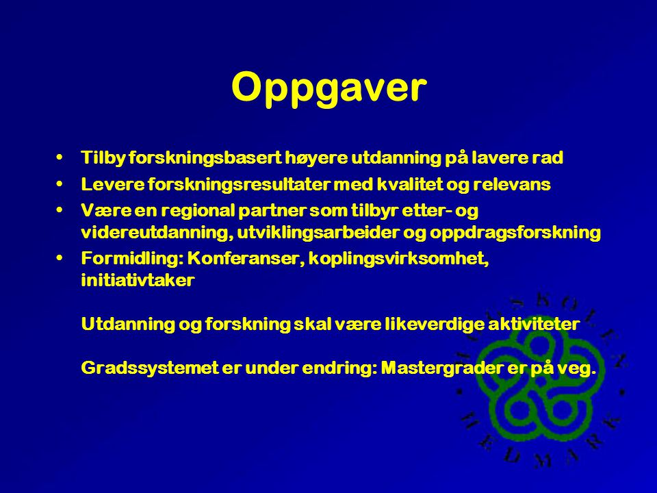 Høgskolen Hedmark inn i fremtiden Erik Mønness, Prorektor April 2000 (For Hedmark Senterparti)