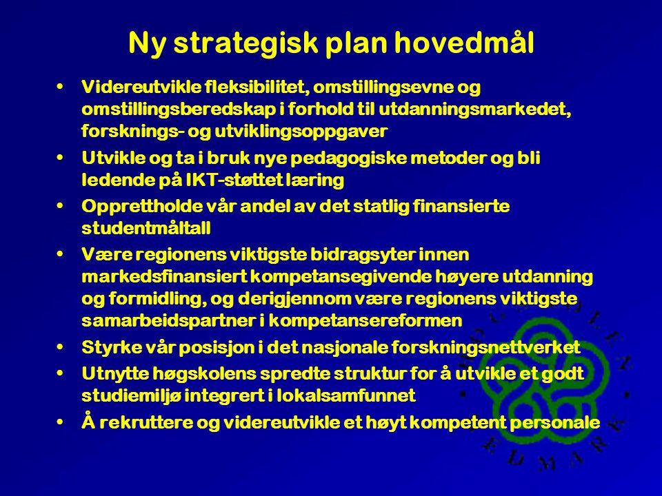 Ny strategisk plan visjon Høgskolen skal være det regionale førstevalg for utdanningssøkende til våre fagområder, og ha solid nasjonal konkurransekraft.