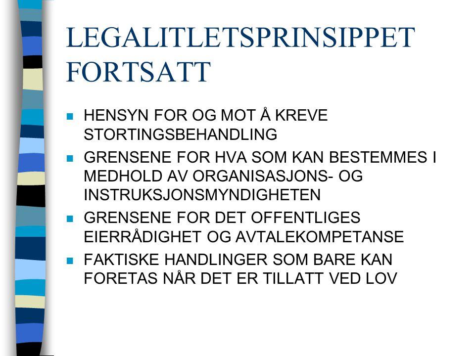 LEGALITLETSPRINSIPPET FORTSATT n HENSYN FOR OG MOT Å KREVE STORTINGSBEHANDLING n GRENSENE FOR HVA SOM KAN BESTEMMES I MEDHOLD AV ORGANISASJONS- OG INSTRUKSJONSMYNDIGHETEN n GRENSENE FOR DET OFFENTLIGES EIERRÅDIGHET OG AVTALEKOMPETANSE n FAKTISKE HANDLINGER SOM BARE KAN FORETAS NÅR DET ER TILLATT VED LOV