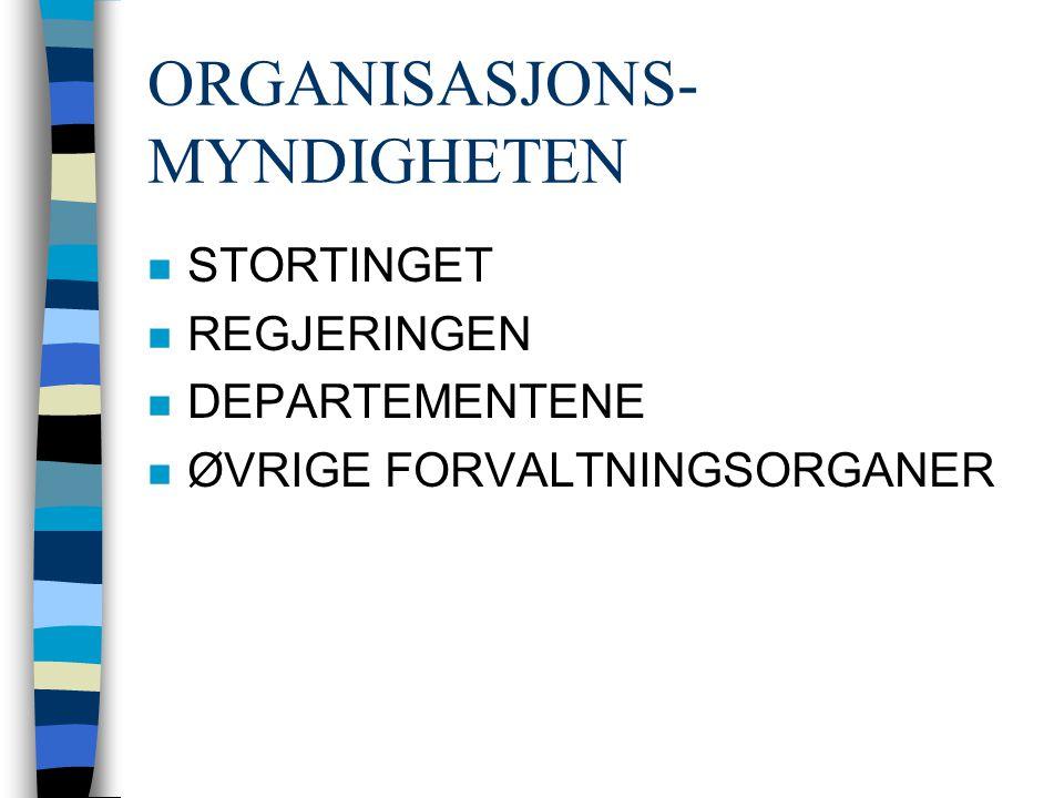 ORGANISASJONS- MYNDIGHETEN n STORTINGET n REGJERINGEN n DEPARTEMENTENE n ØVRIGE FORVALTNINGSORGANER